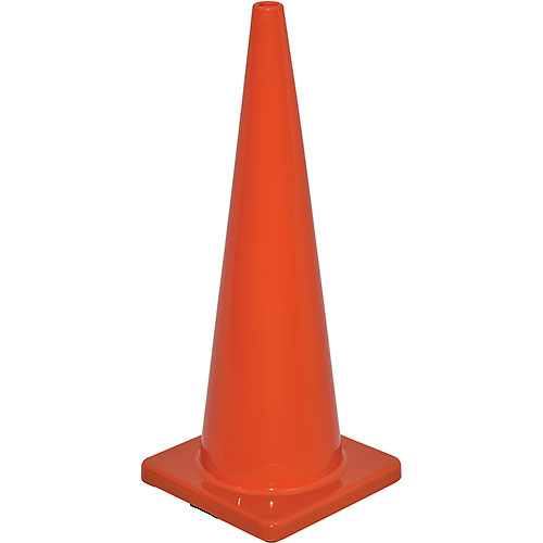 "36"" Traffic Cone, Non-Reflective, Solid Orange Base, 10 lbs by"