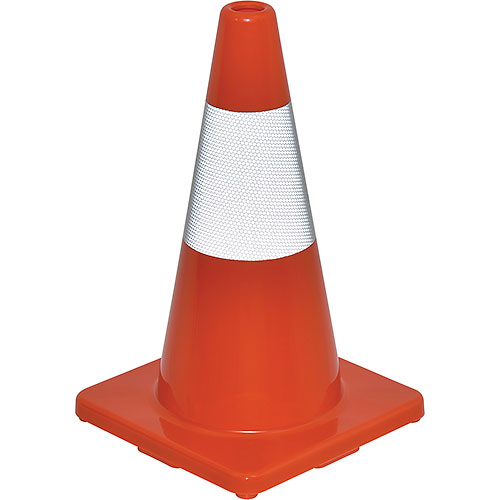 "Click here to buy 18"" Traffic Cone, Reflective, Solid Orange Base, 2-1/2 lbs."