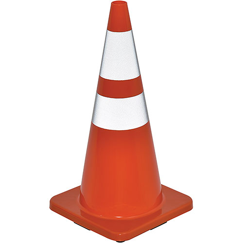"28"" Traffic Cone, Reflective, Solid Orange Base, 7 lbs by"