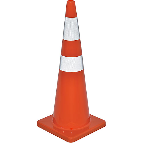 "36"" Traffic Cone, Reflective, Solid Orange Base, 10 lbs by"