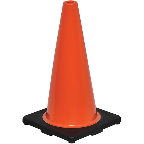 "18"" Traffic Cone, Non-Reflective, Black Base, 3 lbs by"
