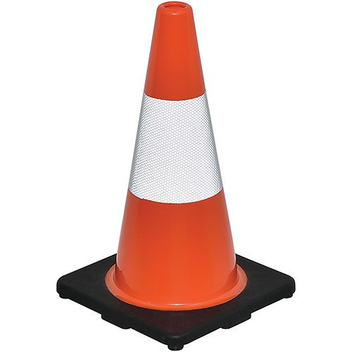 "18"" Traffic Cone, Reflective, Black Base, 3 lbs by"