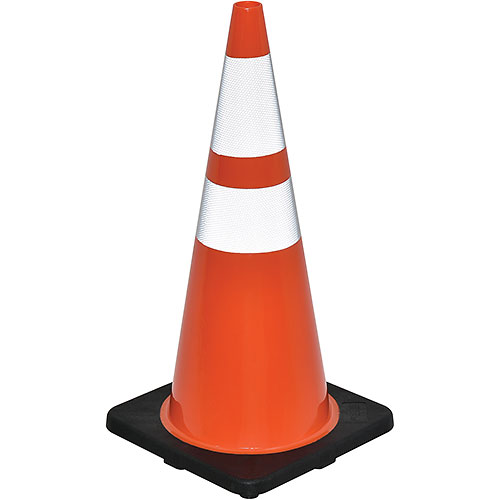 "28"" Traffic Cone, Reflective, Black Base, 7 lbs  by"