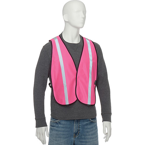 "Global Industrial Hi-Vis Safety Vest, 1"" Reflective Strip, Polyester, Pink, One Size by"