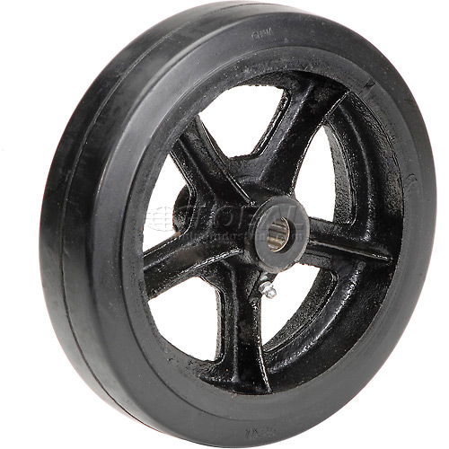 "10"" x 2-1/2"" Mold-On Rubber Wheel Axle Size 3/4"" by"