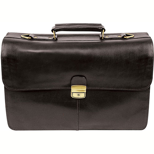 Bond Street 768182 Full-grain Leather Locking Executive Briefcase, Black by