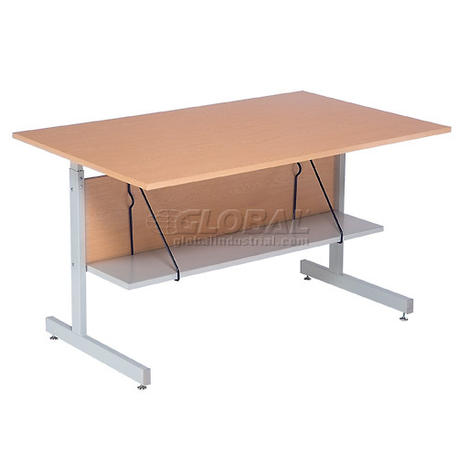 "Interion Height Adjustable Computer Desk/Table, 60""W x 30""D x 26""- 28""H, Oak by"