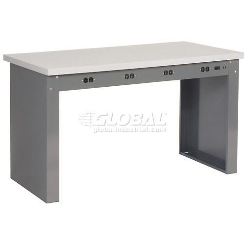 "60""W x 30""D Panel Leg Workbench With Power Apron and ESD Square Edge Top by"