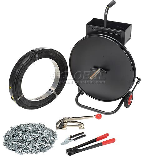 """Steel Strapping Kit 1/2"""" x 2,940' Coil With Tensioner, Sealer, Seals & Cart by"""