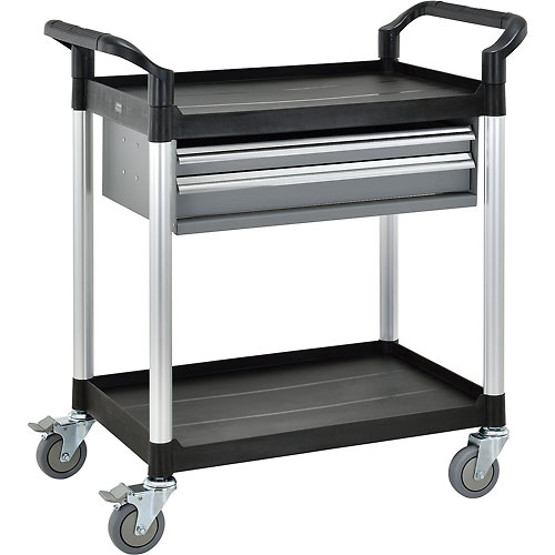 2 Shelf Utility Cart W/Two Drawers 440lb cap  by