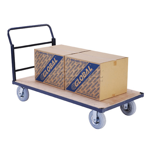 "Steel Bound Wood Deck Platform Truck 60 x 30 1200 Lb. Capacity 8"" Pneumatic Casters by"