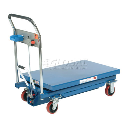 Best Value Mobile Scissor Lift Table with Hook-on Bin 1100 Lb. Capacity 35 x 23 Platform by