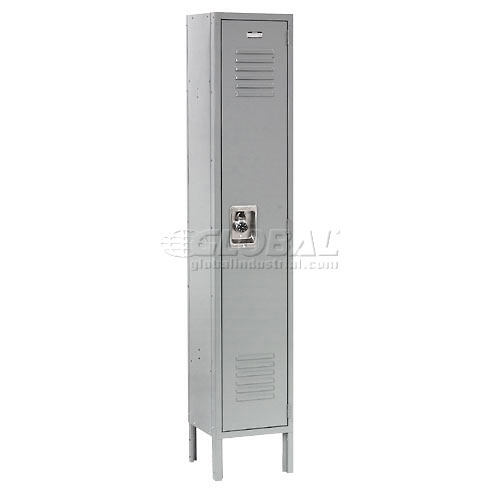 Extra Wide Single Tier Locker 15x18x72 1 Door Recessed Assembled Gray by