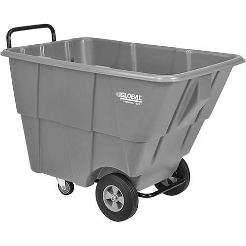 Gray Lid for 1/2 Cubic Yard Gray and Recycling Blue Deluxe Plastic Tilt Trucks by