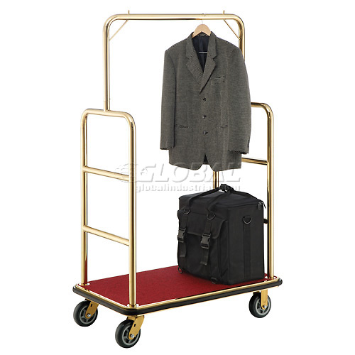 "Best Value Gold Stainless Steel Bellman Cart Straight Uprights 6"" Rubber Casters by"