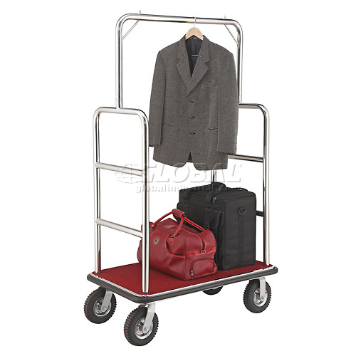 "Silver Stainless Steel Bellman Cart Straight Uprights 8"" Pneumatic Casters by"