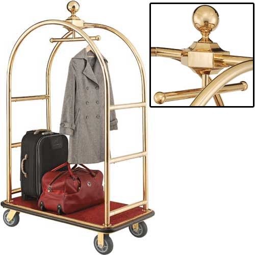 "Best Value Gold Stainless Steel Bellman Cart Curved Uprights 6"" Rubber Casters by"