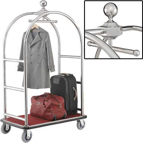 "Best Value Silver Stainless Steel Bellman Cart Curved Uprights 6"" Rubber Casters by"