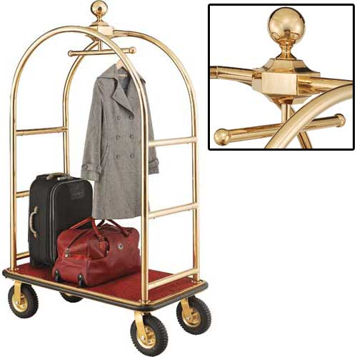 "Best Value Gold Stainless Steel Bellman Cart Curved Uprights 8"" Pneu. Casters by"