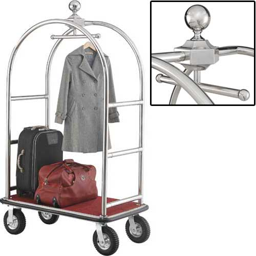 "Best Value Silver Stainless Steel Bellman Cart Curved Uprights 8"" Pneu Casters by"