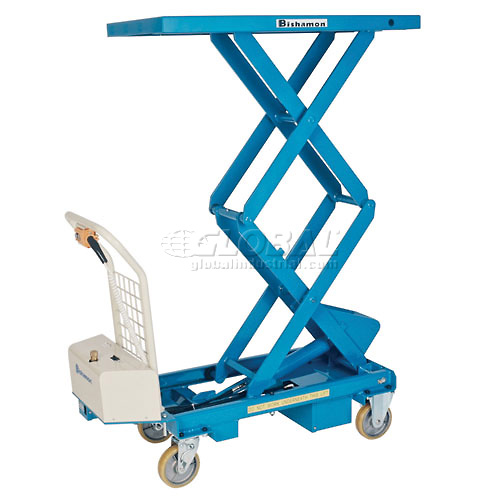 Bishamon MobiLift Battery Powered Double Scissor Lift Table BX-15WB 330 Lb. Cap. by
