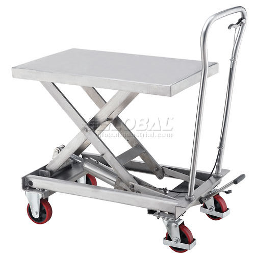 Best Value Stainless Steel Mobile Scissor Lift Table 440 Lb. Capacity 33 x 20 Platform by