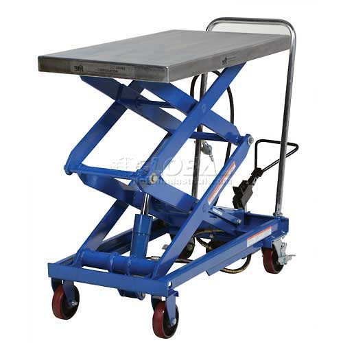Vestil Pneumatic-Hydraulic Mobile Scissor Lift Table AIR-800-D 800 Lb. Capacity by