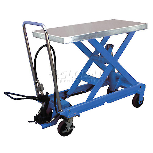 Vestil Pneumatic-Hydraulic Mobile Scissor Lift Table AIR-1000 1000 Lb. Capacity by