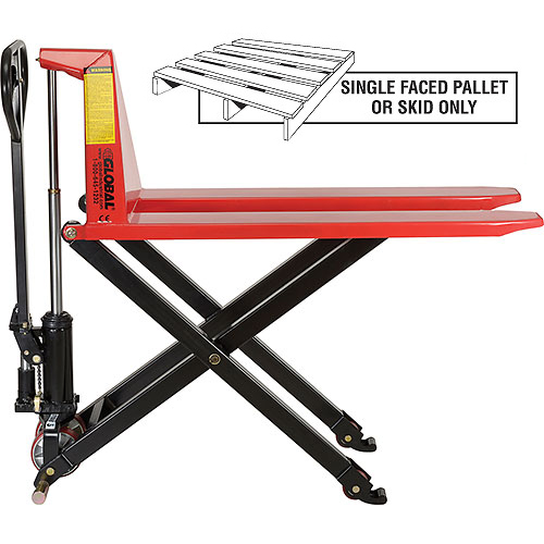 Manual High-Lift Skid Jack Truck 2200 Lb. Capacity 20.5 x 45 Forks by