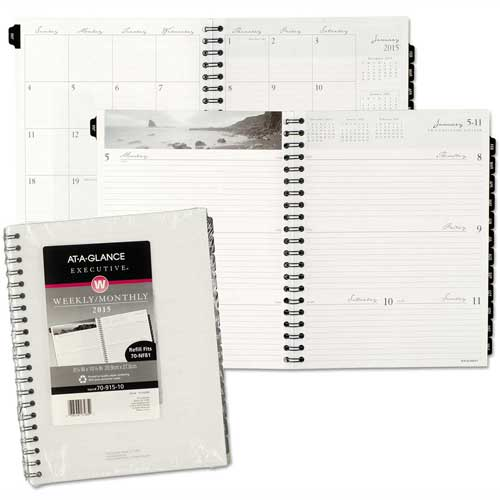 AT-A-GLANCE Executive Fashion Weekly/Monthly Planner Refill, 8 1/4 x 10 7/8, 2017 by