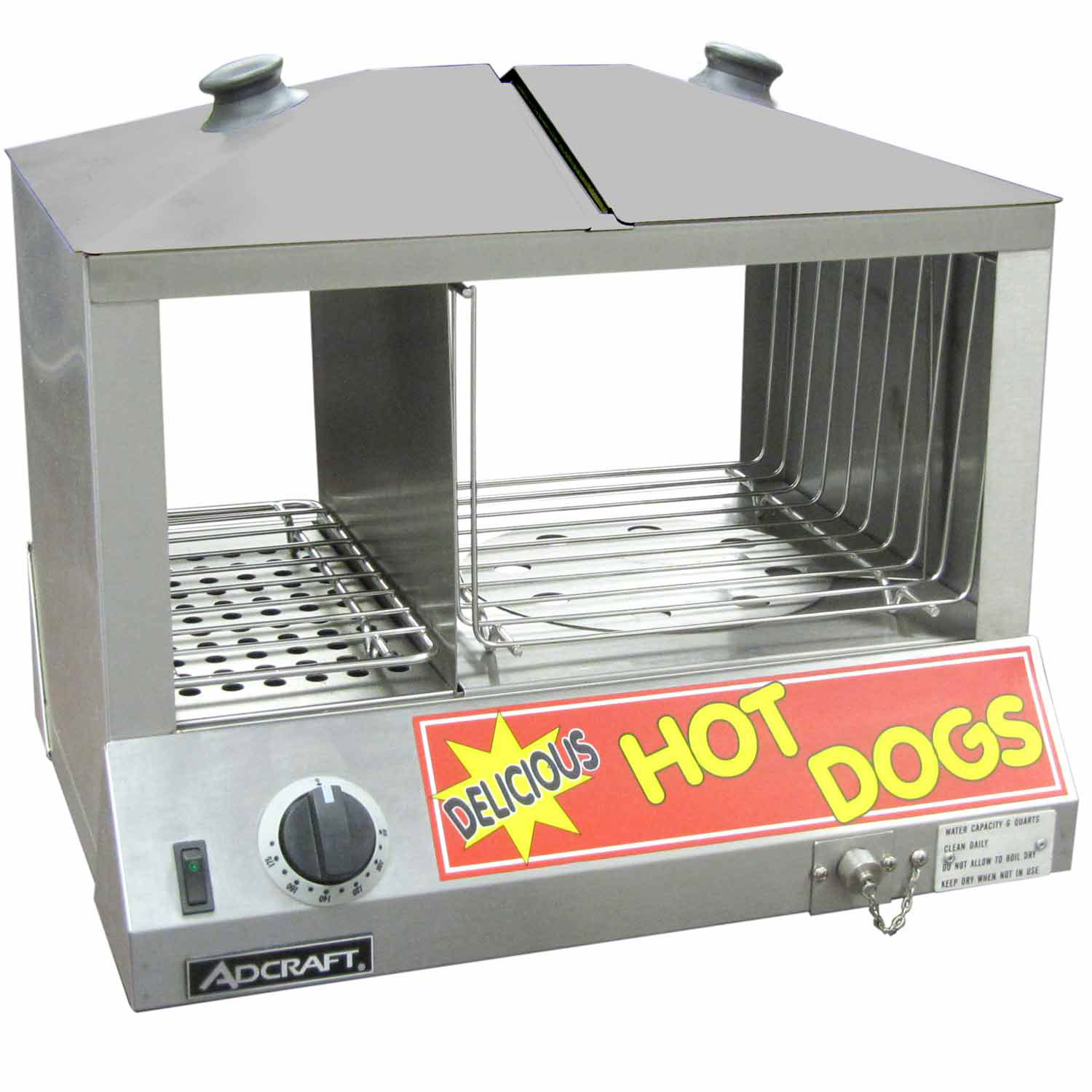 Adcraft HDS-1200W Hot Dog Steamer & Warmer, Holds 100 Hot Dogs, 36-48 Buns, 120V by