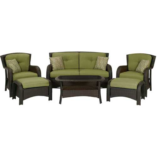 Click here to buy Hanover Strathmere 6-Piece Outdoor Wicker Patio Set.