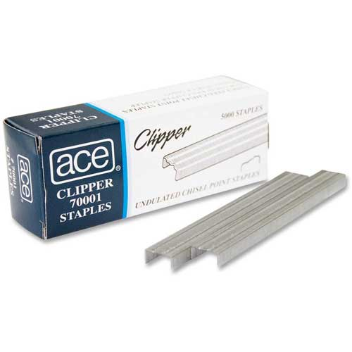 Ace Undulated Staples, For Use with 07020 Clipper Plier Staplers, 210 Per Strip, 5000/Box by