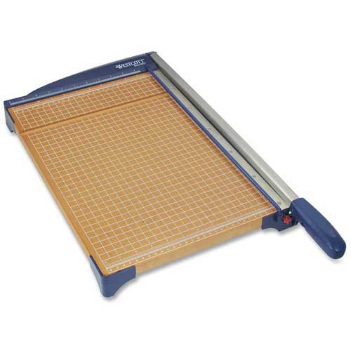 "Westcott Wood Base Guillotine Paper Trimmer, 12"" Cutting Length, 10 Sheet Capacity, Woodgrain by"