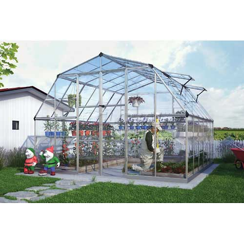 Palram Nature Americana Hobby Greenhouse HG5212, 12' L X 12' W, Silver by