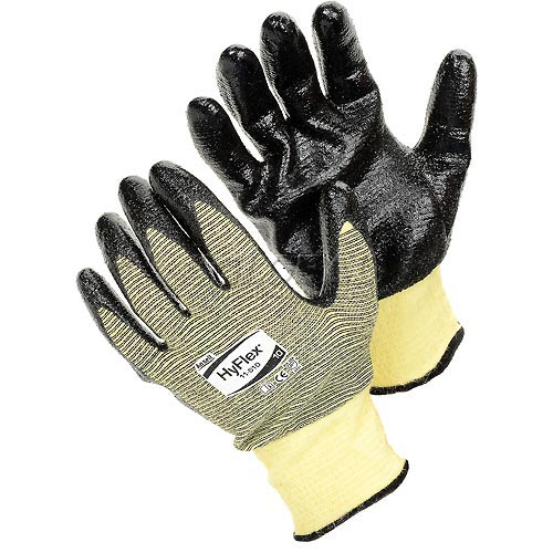 HyFlex Cut Resistant Gloves, Ansell 11-510, Black Nitrile Palm Coat, Size 8, 1 Pair by