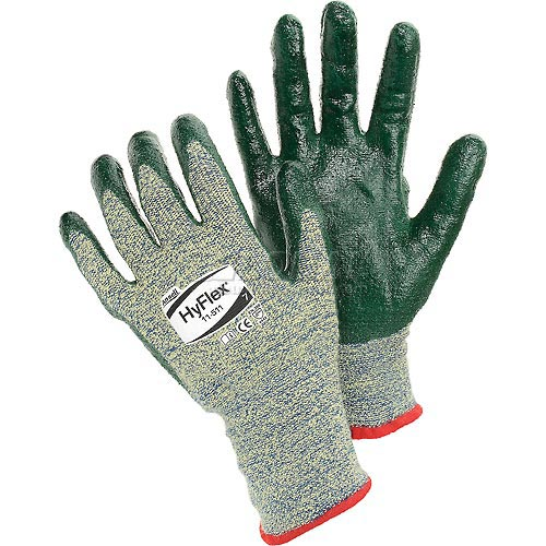 HyFlex Cut Resistant Gloves, Ansell 11-511, Green Nitrile Palm Coat, Size 10, 1 Pair by