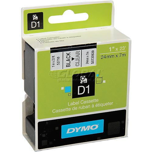 "Buy DYMO D1 Standard Labels 1"" Black on Clear"