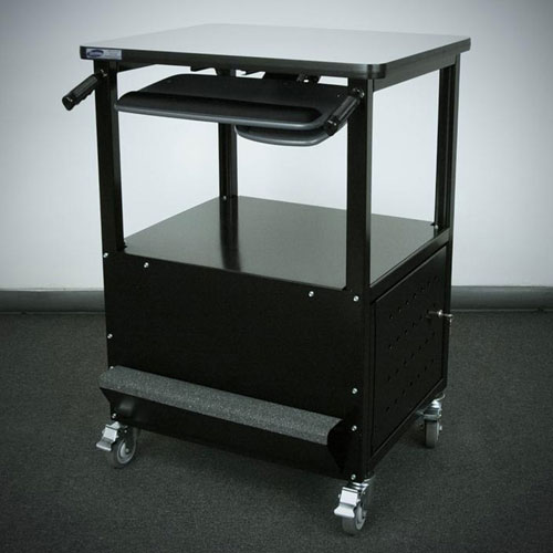 """Stackbin Enclosed Bottom Computer Cart, 30""""W x 24""""D x 40""""H, Black by"""