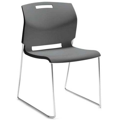 Global Armless Stacking Chair Plastic Platinum Grey Popcorn Series by