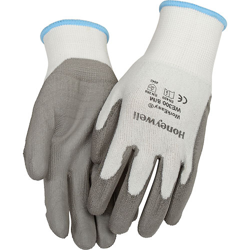 Honeywell WorkEasy WE300L Cut Resistant Gloves w/HPPE Gray Shell & Polyurethane Palm,... by
