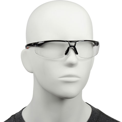 Uvex S4200HS Protege Safety Glasses, Black Frame, Clear HS Lens by