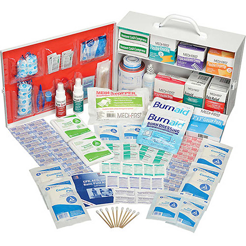Global Industrial First Aid Kit 2 Shelf Steel Cabinet, ANSI Compliant, 50-75...