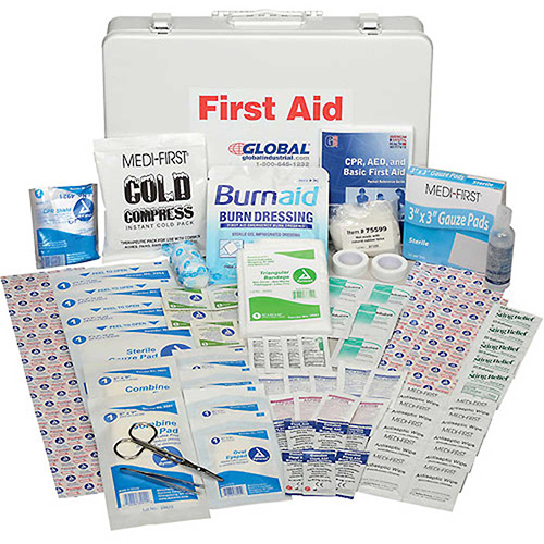 Global Industrial First Aid Kit 50 Person, ANSI Compliant, Metal Gasketed Case