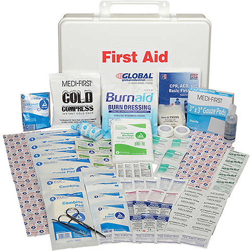 Global Industrial First Aid Kit 50 Person, ANSI Compliant, Plastic Case