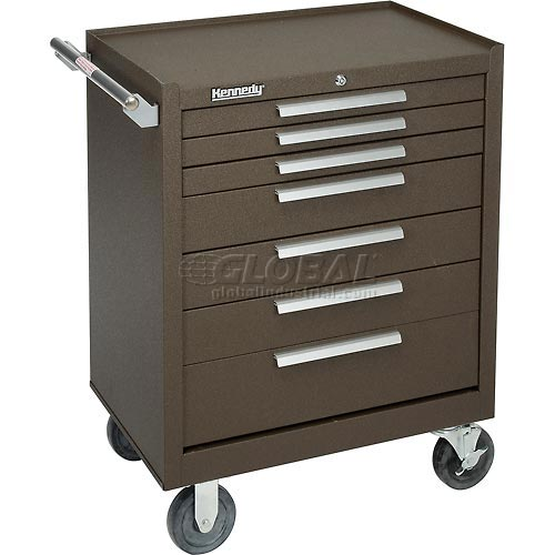 """Kennedy 277XB 27"""" 7-Drawer Roller Cabinet w/ Ball Bearing Slides Brown by"""
