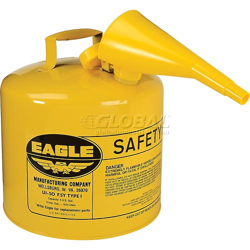 Eagle Type I Safety Can 5 Gallon with Funnel Yellow, UI-50-FSY by