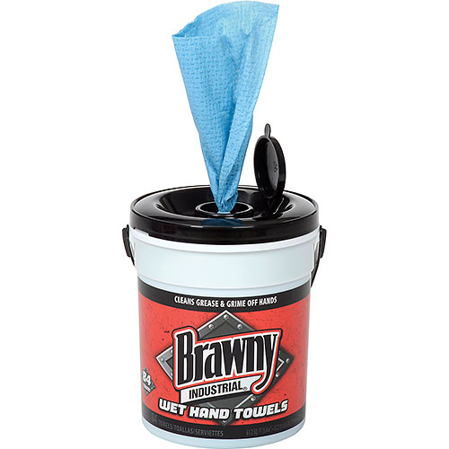 GP Brawny Industrial Blue Wet Hand Towels, 84 Towels/Pail, 6 Pails/Case 21501 by