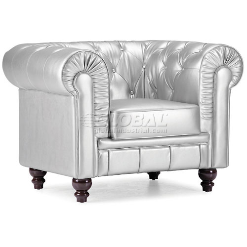 Aristocrat Armchair, Silver Leatherette by