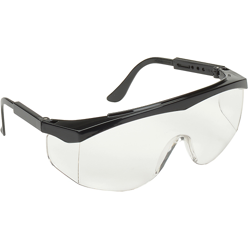 MCR Safety SS010 Stratos Safety Glasses, Black Frame, Clear Uncoated Lens by